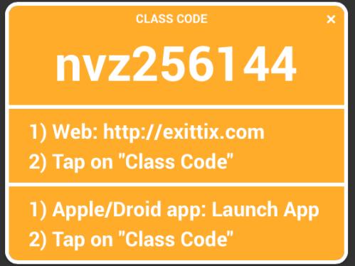 Exit Ticket Class Code